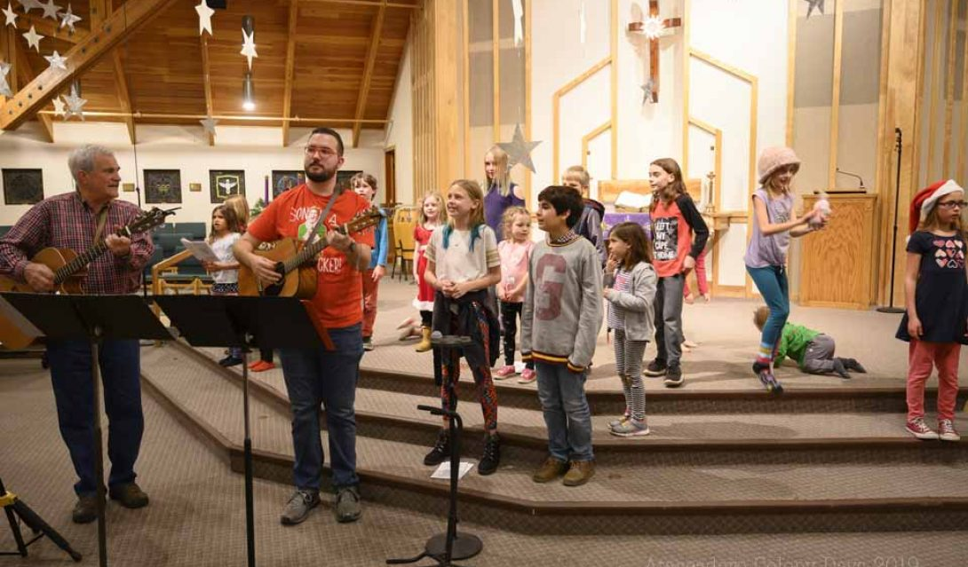 Carols and Cocoa--children singing in the sanctuary