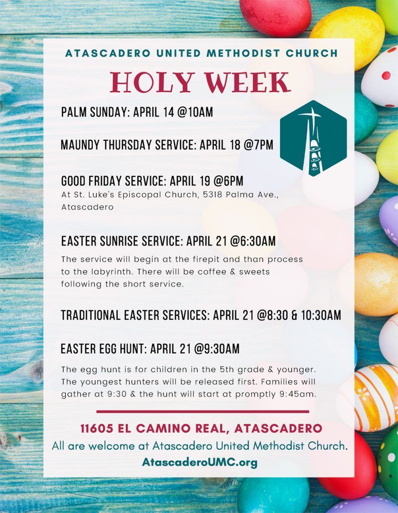 Schedule for Holy Week 2019